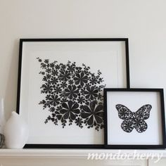 A small bite of mondocherry: new artwork for the Boutique Markets, Melbourne. Cardboard Paper, Diy Paper, Paper Crafts, Black And White Flowers, White Art, 3d Wall Decor, Paper Artwork, Decoration, Fun Projects