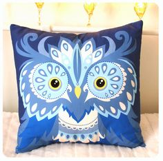 "Blue Owl Cushion bird design in soft cotton large size pillow 16"" x 16"". £22.00, via Etsy."