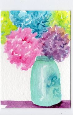 ACEO Hydrangeas Painting  in Ball Mason Jar by SharonFosterArt,