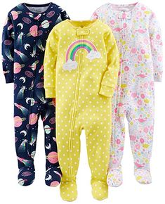 3er-Pack Simple Joys by Carters M/ädchen 3-Pack Loose Fit Flame Resistant Fleece Footed Pajamas