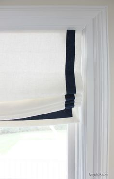 Casual Relaxed Roman Shade in Kravet Dublin Linen with Samuel & Sons Grosgrain Ribbon Trim - Modern House Windows, Blinds For Windows, Window Coverings, Window Treatments, Store Bateau, Relaxed Roman Shade, Custom Roman Shades, Samuel And Sons, Custom Kitchen Cabinets