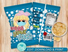 INSTANT DOWNLOAD, Editable I miss your face 002 Chip Bag Candy Bag, party Favors, Chip Wrappers by AdrisCorner on Etsy