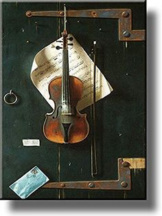 Old Violin by Harnett Picture on Stretched Canvas, Wall Art Decor, Ready to Hang!