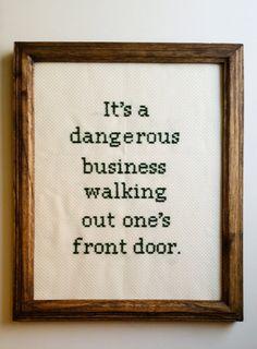 It's a dangerous business...cross stitch by ATravelersStitches