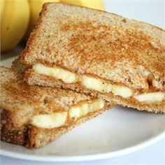 Grilled Peanut Butter and Banana Sandwich (Elvis's favorite sandwich) try PB2 in place of regular peanut butter and making in the waffle maker to cut down on fat and no need for butter.