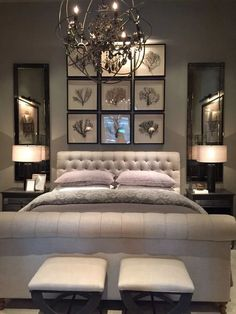 A statement lamp is always needed in a luxury bedroom interior design project. - Lighting for Bedroom - Bedroom Beautiful Bedroom Designs, Modern Bedroom Design, Master Bedroom Design, Beautiful Bedrooms, Home Decor Bedroom, Contemporary Bedroom, Diy Bedroom, Beautiful Wall, Romantic Bedroom Colors