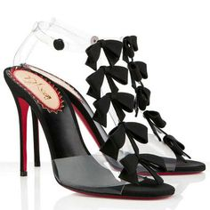Christian Louboutin Bow Bow 100mm PVC Sandals Black Red Bottom Shoes