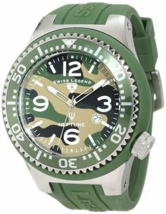 Swiss Legend Men's 11852C-017 Neptune Green Camouflage Dial Watch Swiss Legend. $109.99. Water-resistant to 100 M (330 feet). Swiss quartz movement. Green camouflage dial with silver tone and white hands, white hour markers and arabic numerals; luminous; unidirectional stainless steel bezel with green ring and silver arabic numerals; screw-down crown. Mineral crystal; stainless steel case with green silicone cover and strap. Date function at 4:00. Save 72%!