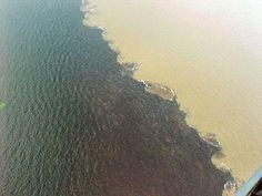 Encontro das águas do Rio Negro com o Rio Solimões. As águas caminham lado a lado, sem se misturarem, por cerca de 6 quilômetros.