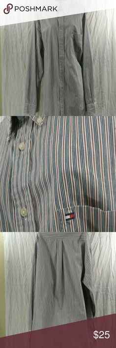 Tommy Hilfiger button down shirt- XL Excellent shirt sleeves button down with front pocket and button down collar.. Great for work! Tommy Hilfiger Shirts Dress Shirts