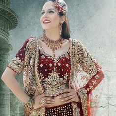 Medley Maroon Velvet Lehenga Choli with Dupatta