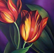 Resultado de imagem para red tulip painting