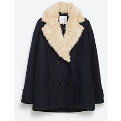 Zara Faux Fur Jacket (165 BAM) ❤ liked on Polyvore featuring outerwear, jackets, coats, navy blue, navy blue jacket, fake fur jacket, embellished jacket, navy jacket and faux fur lined jackets