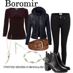 Boromir by thetolkienlook on Polyvore featuring Precis Petite, Paige Denim, Monki, Stella & Dot, MDKN and FOSSIL