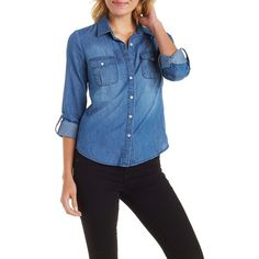 Charlotte Russe Med Wash Denim Roll Tab Denim Chambray Shirt by... (17.905 CLP) ❤ liked on Polyvore featuring tops, med wash denim, denim button shirt, charlotte russe shirts, charlotte russe, button collar shirt and button shirts