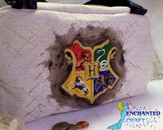 Handmade Purse hand painted Hogwarts Houses with Harry Potter, Hermione, and Ron handbag magic by enchantedcraft, $50.00 USD
