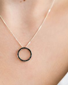 CTW Round Black Diamond Circle Pendant Necklace in White Gold Black Diamond Wedding Rings, Black Diamond Necklace, Colored Diamond Rings, Diamond Pendant, Diamond Stores, Circle Pendant Necklace, Black Rings, White Gold, Chain