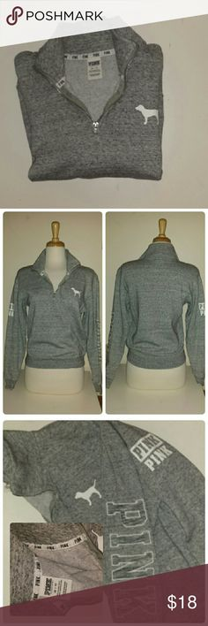 VS PINK Heather Grey Half Zip Sweatshirt Very soft and in excellent condition, this half zip sweatshirt is warm yet light and super comfy. Beautiful grey cotton and PINK patch embroidery on left arm with screen printed logos on right arm. PINK logo dog on left chest. Logo ribbon around inner collar.  XS could easily fit a small.  Like new. Victoria's Secret Tops Sweatshirts & Hoodies