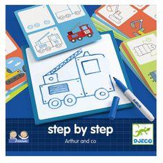 Djeco Eduludo Step by Step Zeichenschule Arthur, für Jungen von 3 - 6 Jahren - Bonuspunkte sammeln, Kauf auf Rechnung, DHL Blitzlieferung!