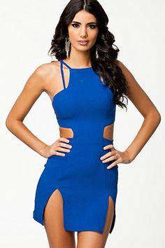 Trendy Blue Cut out Waist Mini Club Dress