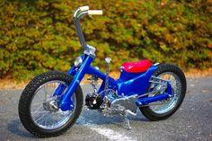 Honda Super Cub by Monkey Custom Honda Cub, Honda Grom, Motorcycle Design, Motorcycle Bike, Bike Design, Custom Moped, Custom Bikes, Cool Bicycles, Cool Bikes