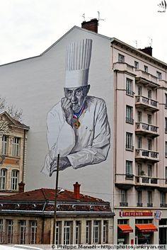 Peinture murale : Fresque Paul Bocuse, cuisinier lyonnais (Lyon, Rhône-Alpes)