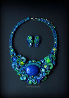 Handmade soutache set earrings and necklace by Mildossutazas Ribbon Jewelry, Fabric Jewelry, Beaded Jewelry, Jewellery, Soutache Necklace, Diy Necklace, Handmade Necklaces, Handmade Jewelry, Unique Jewelry