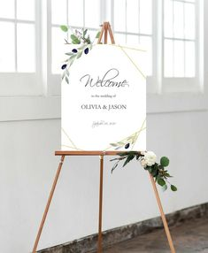 Olive Greenery Welcome Sign Printable, Printable Wedding Poster Sign, Digital Download, Pdf Editable.#weddings #decoration #green #wedding #gold #rustic #instantdownload #rusticsigntemplate #welcomeprintable #tuscanywedding #greenerywedding