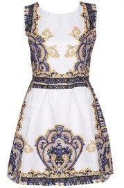 ROMWE Baroque Print Sleeveless White Dress