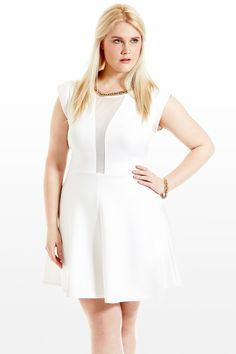 Blanched DuBois Mesh Cutout Dress from @Fashion To Figure....loving this in white!