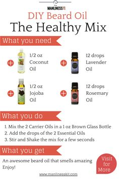 DIY beard oil recipe. If you want to know how to make beard oil at home, feel free to visit: http://manlinesskit.com/diy-how-to-make-beard-oil-quick-easy-recipes.
