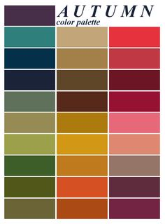 Autumn color palette - for the capsule wardrobe - she shows everything! Autumn color palette - for the capsule wardrobe - she shows everything! Color Me Beautiful, Colour Schemes, Color Combos, Colour Chart, Best Color Combinations, Color Type, Type 3, Minimalist Beauty, Minimalist Fashion