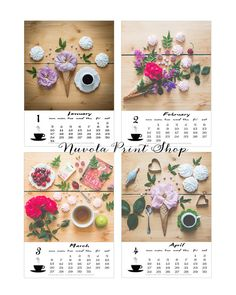 2016 calendar flowers and coffee shabby chic by NuvolaPrintShop