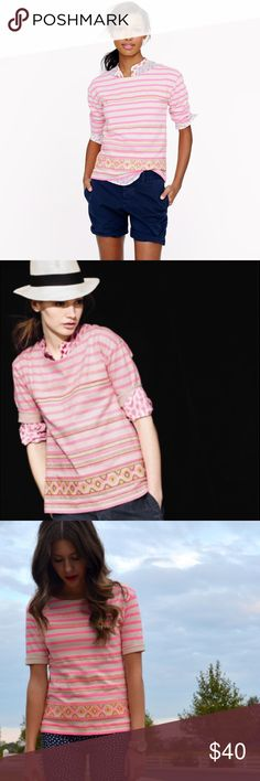 """J.Crew Neon Striped Top Worn only twice. ABSOLUTELY NO TRADES!   Inspired by a vintage piece with intricate embroidery, our design team took a crisp skinny-stripe top and overlaid it with a graphic-stitched motif. In a slightly structured cotton with elbow sleeves and a vented hem, it's the perfect mix of tailored and laid-back (translation: a major wardrobe workhorse).  Slightly swingy fit. Cotton. Body length: 24"""". Elbow sleeves. J. Crew Tops"""