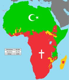 A Religious Map Of Modern Africa Showing The Distribution Of Christianity Red Islam Green And Traditional Religions Gold