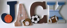 Hanging Wooden Letters – Sports Theme – Baseball, Football, Soccer, Basketball – Wood Letter Set for Nursery - Modern Hanging Wooden Letters, Wood Letters Decorated, Wooden Letters For Nursery, Diy Letters, Baby Boy Nursery Themes, Baby Boy Rooms, Baby Boy Nurseries, Baby Decor, Baby Bedroom