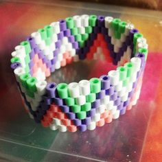 Perler Bead Bracelet by AshsBottleCapsCrafts on Etsy
