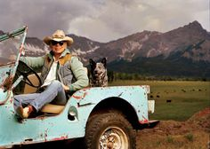 "Ralph Lauren on his ranch outside Telluride. I would say his Jeep has been beat up . but my husband said ""No.the Jeep belongs to Ralph Lauren. It's vintage distressed. A Well Traveled Woman, Into The West, Ralph Lauren Style, Australian Cattle Dog, Australian Shepherd, Oui Oui, The Ranch, My Guy, The Life"