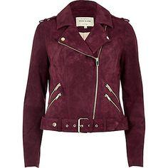 Dark red suede biker jacket £120.00