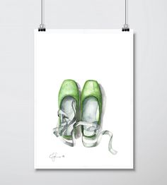 Green ballet shoes.  Watercolors on paper.