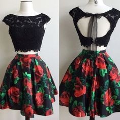 Black lace short floral homecoming dress