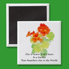 Nasturtium Magnet with Quote by helikettle