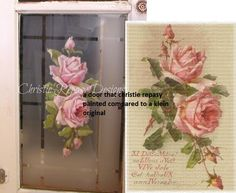 this is a window that christie repasy painted.  a catherine klein vintage postcard image is on the right