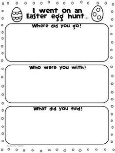 "FREEBIE! I hope you enjoy this Easter creative writing activity! Included are ""I went on an Easter egg hunt…"" brainstorming page, publishing pages with two line styles, and an Easter egg design page."