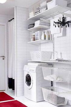 Wonderful Laundry Room Tile Pattern Ideas - Page 31 of 71 Ikea Laundry Room, Laundry Cupboard, Laundry Closet, Laundry Room Organization, Laundy Room, Laundry Room Inspiration, Küchen Design, Design Ideas, Room Tiles