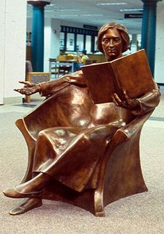 Come read with me by Tuck Langland http://www.gobronze.org/artists/langland/langland.html   Be sure to check out the sculpture as it is loved in the Goshen Library! http://www.gobronze.org/artists/langland/comereadwithme.html