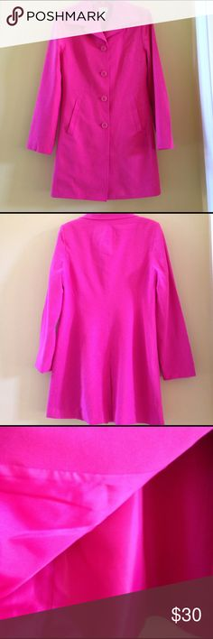 🌸Hot Pink Jacket🌸 🌸HOST PICK for Total Trendsetter 2/28🌸65% Rayon/42% Polyester/3% Spandex🌸two side slit pockets that are still sewn shut🌸fully lined🌸worn once🌸 JPR Separates Jackets & Coats