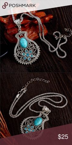NWT Boho turquoise rhinestone pendant High quality, vintage fashion necklace. Pendant is 3.5 x 4.5 cm. with beautiful turquoise rhinestones. The thick chain is a link chain and is 52 cm.  NWT Jewelry Necklaces