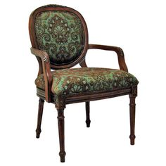 Louis-style accent chair with paisley upholstery and cherry-finished wood framing.   Product: Chair    Construction Materi...