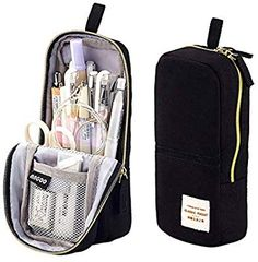 iSuperb Stand Up Pencil Case Canvas Pencil Holder Phone Holder Mobile Phone Bracket Function Desk Organizer Makeup Cosmetic Bag (Black) Black Pencil Case, Cool Pencil Cases, School Accessories, Locker Accessories, Cool School Supplies, Sacs Design, Cute Stationery, Stationary, Pencil Bags